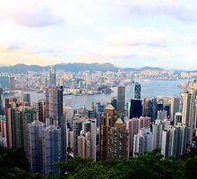 HK Panorama at Sunset V - Hong Kong. by Tiffany Lenoir