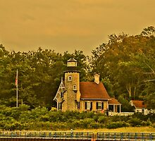 White River Lightouse Station at Sunset, Whitehall, Michigan by Kathy Russell
