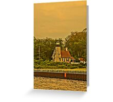 White River Lighthouse Station at Sunset, Whitehall, Michigan Greeting Card
