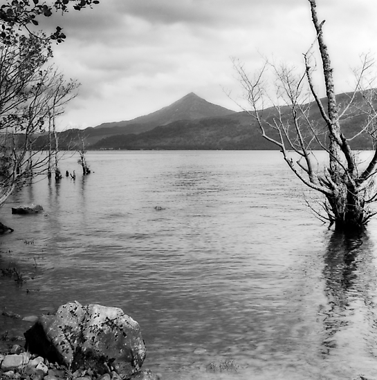 Loch Rannoch and Schiehallion, black and white by PigleT