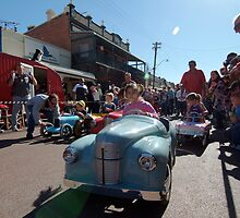 kids vintage pedal car race at York Festival of Motoring, York, Western Australia by nick page