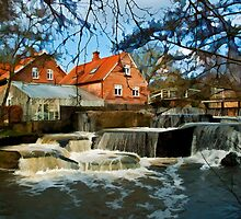 Beautiful Waterfall Country Landscape Denmark by Ron Zmiri