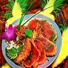 MACADAMIA NUT CRUSTED AHI TUNA WITH GRILLED MAUI ONION RELISH by miguel by miguel
