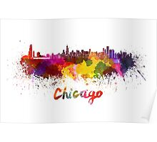 Chicago skyline in watercolor Poster