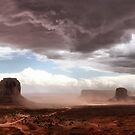 Pano of Monument Valley dust storm by Robyn Lakeman