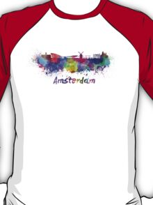 Amsterdam skyline in watercolor T-Shirt