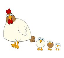 Cute cartoon hen with three fledglings by berlinrob