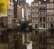 Amsterdam - Reflecting on Autumn Canal Houses by Georgia Mizuleva
