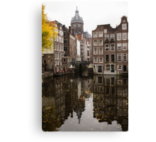 Amsterdam - Reflecting on Autumn Canal Houses Canvas Print