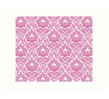 Retro Fleur De Lis Wallpaper Design in Candy Pink Art Print