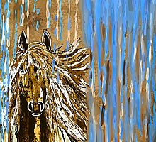 Horse Running Wild Blue and Brown by Saundra Myles