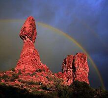Rainbow Over Balanced Rock by Markos Berndt