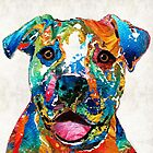 Colorful Dog Pit Bull Art - Happy - By Sharon Cummings by Sharon Cummings