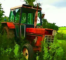 Old vintage tractor digital art manipulation by Ron Zmiri