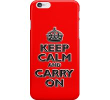 Keep Calm & Carry On, Be British! UK, Britain, (Chisel red) iPhone Case/Skin