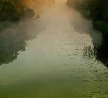 Sunrise in morning mist by Antanas