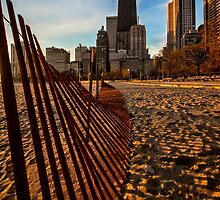 Dunes Fence leads to Chicago skyline by Sven Brogren