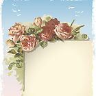 Vintage Roses Ornament on Old Page with blue sky by aurielaki