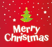 Merry Christmas red background card with green tree by vinainna