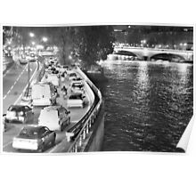 Traffic by the Seine, Paris Poster