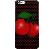 Polka dots and Pair of Cherries in Black iPhone Case/Skin
