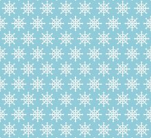Winter Pattern - Aqua Blue and White Snowflake by PatternPrint