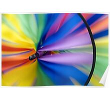 Wind Vane - A spiral wind vane made of colorful strips of cloth and sprockets Poster