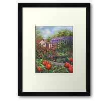 Garden with Tulips and Wisteria Framed Print