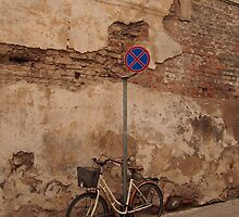 Old Town street and a bicycle. by miniailov