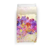 New York skyline in watercolor background Duvet Cover