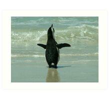 Penguin on Beach Art Print