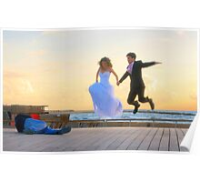 Jump of joy! A couple about to get married, is photographed at the Tel Aviv Marina, Israel Poster