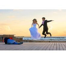 Jump of joy! A couple about to get married, is photographed at the Tel Aviv Marina, Israel Photographic Print