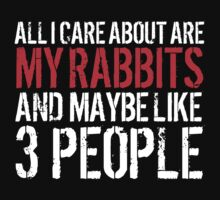 Funny 'All I care about are my rabbits and like maybe 3 people' T-shirt by Albany Retro