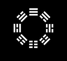 I Ching, symbol, Book of Changes, WHITE on Black by TOM HILL - Designer