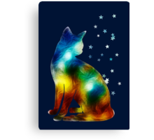 Galactic Space Pussy On Milky Way, Cat, Space, Galaxy Canvas Print