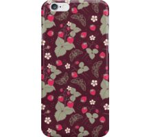 Vintage Berries Leaves Fruit Moth butterfly Wallpaper. iPhone Case/Skin