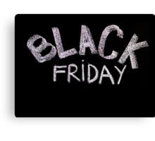 Black Friday advertisement handwritten with chalk on blackboard Canvas Print