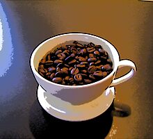 Comic Abstract Coffee Beans in Cup by steelwidow