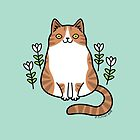 Brown and White Cat with Flowers by zoel