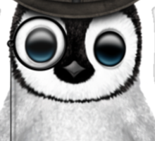 Cute Baby Penguin with Monocle and Top Hat on Blue Sticker