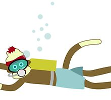 Sock Monkey Scuba Diver by pounddesigns