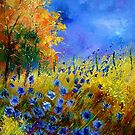 Blue cornflowers and orangetree by calimero