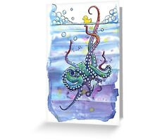 Bath Time Octopus Greeting Card