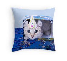 Birthday Kitten Throw Pillow