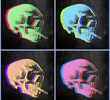 Van Gogh Skull with burning cigarette remixed set of 4 by filippobassano