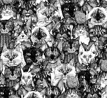 CHRISTMAS CATS black & white by Sharon Turner