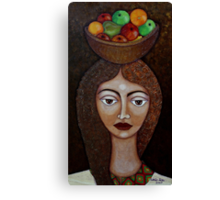 Big-eyed woman with fruits Canvas Print