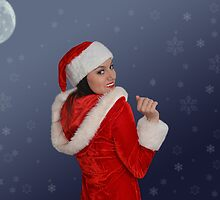 Beautiful young female  with Christmas gift by Viktorcvetkovic