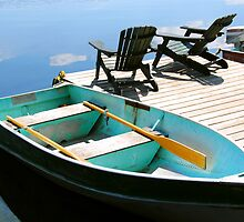 Chairs boat dock by Elena Elisseeva